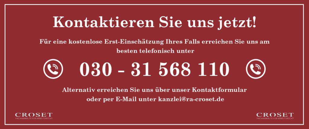 Nehmen Sie Kontakt zu uns auf | Fachanwälte für Arbeitsrecht Croset